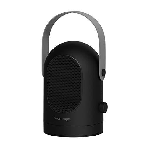 NAUY@ Riscaldatore da tavolo portatile mini Riscaldamento ceramico, ventilatore silenzioso a testa mobile con termostato intelligente, 600 watt Riscaldatori di spazio (colore : Nero)