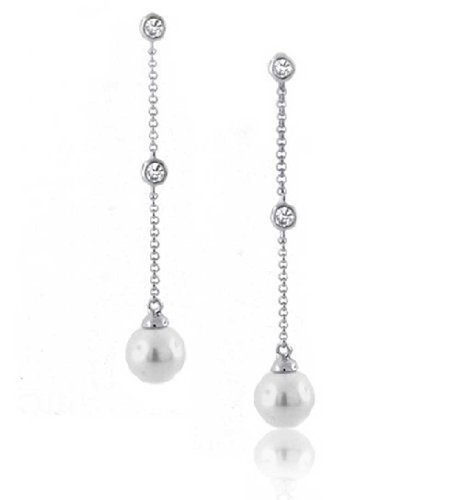 CZ nupcial por el astillero Drop Earrings simulada de Pearl 10mm chapados en rodio