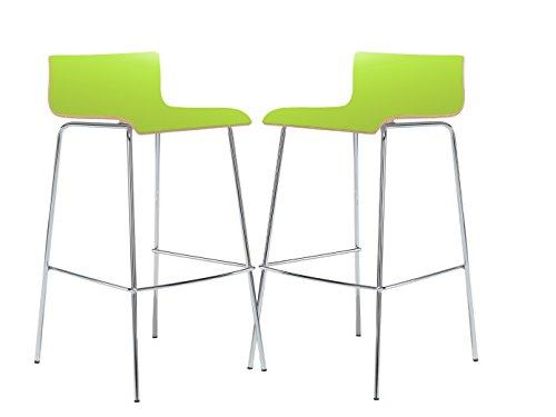 MAUSER SITZKULTUR 2er-Set Design Barhocker / Barstuhl in schlanker Form, Holzdeckor grün, Gestell glanzverchromt; M225