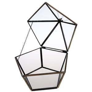 Geometric Glass Terrarium Lantern Tabletop Succulent Plant Flowerpot w Roof