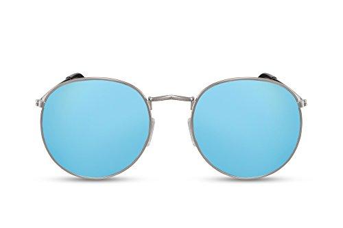 Cheapass Sonnenbrille Rund Gold Blau Verspiegelt UV-400 Retro Metall Damen Herren