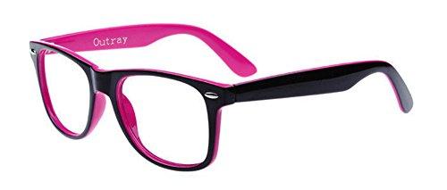Outray Unisex Retro Klassische Wayfarer klare Linse Brille, Vintage 80' Nerdbrille für Damen und...