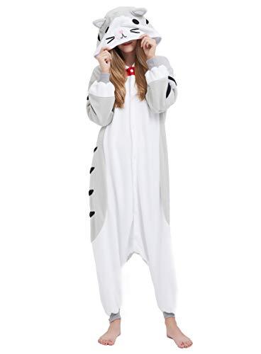 Jumpsuit Onesie Tier Karton Fasching Halloween Kostüm Sleepsuit Cosplay Overall Pyjama Schlafanzug Erwachsene Unisex Lounge Kigurumi Tabby Katze for Höhe 140-187CM