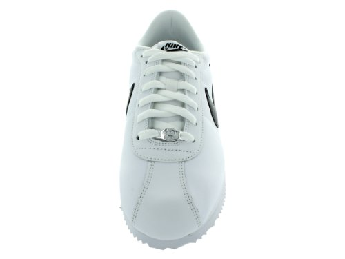 Nike Mens Cortez Basic Lether 06 Leather Trainers White / Black - Metallic Silver