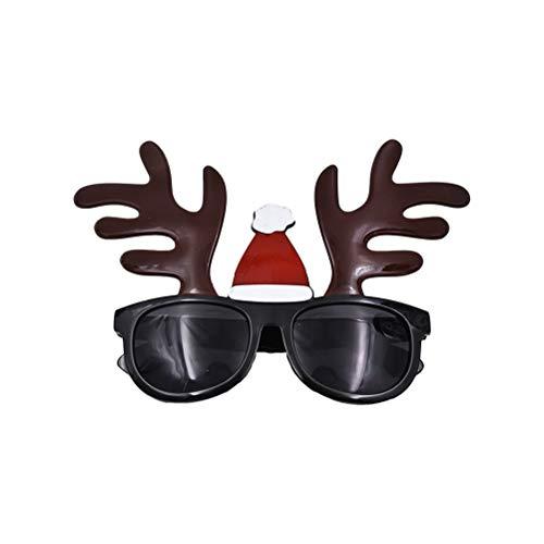 BESTOYARD Weihnachten Brille Lustige Rentier Geweihe Brille Rahmen mit Weihnachtsmütze Kostüm Brillen Weihnachten Party Fvor