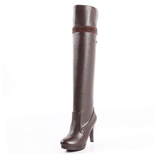160d3d6d037cb HAOLIEQUAN Size 32-48 Women High Heel Over Knee Boots Ladies Riding Long  Snow Warm Winter Heels Footwear Shoes,Brown,9