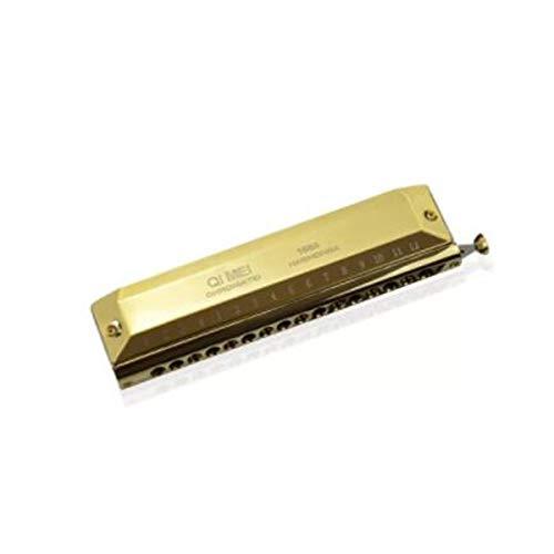 KMDSM Chromatische Mundharmonika, 12-Loch-Mundharmonika, 48-Ton, 16-Loch-Mundharmonika, Anfängerinstrument for Erwachsene, 12-Loch-Chromatische Tonleiter, rundes Mundstück, Silber, Schwarz, Gold
