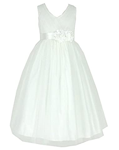 Tulle Occasion Holiday Bridesmaids/Flower Girl Dress Ivory Size 2 (I202-2#)