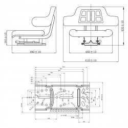 vidaXL Tractor Seat Arm Rest and Backrest Black Waterproof