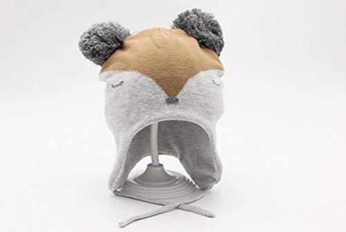 DDHZTA Herbst und Winter Kinder-Line-Mütze grauen Fuchs Gesicht Baby Strick Hut Junge warme Ohrmuffs Babykappe,M Kinder-winter Line