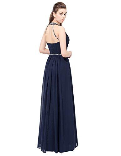 Dresstells Robe de cérémonie Robe de soirée en mousseline emperlée longueur ras du sol Bleu Saphir
