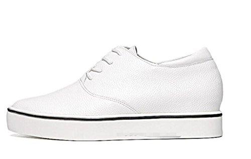 LDMB Women's square toe wasserdichte Plattform die Erhöhung hohe Schuhe Lace up einzigen Schuhen White