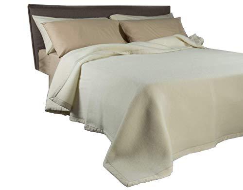Zenoni & colombi coperta in 100% pura lana vergine lambswool - marchio woolmark (matrimoniale, beige)