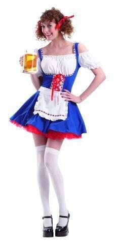 Foxxeo Dirndlkostüm Kostüm Dirndl blau weiß für Damen Damenkostüm Bayern Oktoberfest Fest Oktober Gr. S - M Größe S
