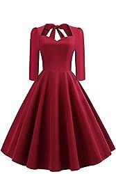 Damen Rockabilly Kleid Vintage Pin up Kleid Petticoat Kleid mit figurbetont Geschnitten A-Linie Weinrot Knielang Gr.M