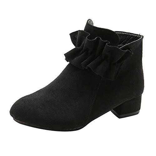 HDUFGJ Mädchen Boots Stiefel Winter Stiefeletten kurz Boots Prinzessin Stiefel Outdoor-Schuhe Boots kurz Chelsea Boots Plus Samt warme wasserfeste 34 EU(Schwarz)