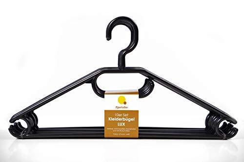 Kleiderbügel 20er Pack in schwarz - extra schwere Qualität (45g pro Bügel) - mit Anti-Rutsch-Rillen und Krawatten- bzw. Gürtelhalter