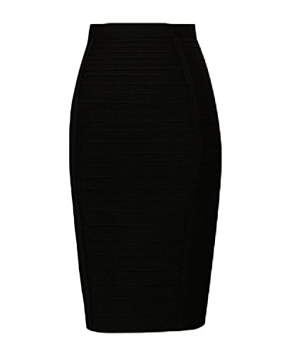 Whoinshop Women's Stretchy Slim Fit Midi Pencil Skirt with Zipper Black L (Schwarze Lange Pencil-skirt)