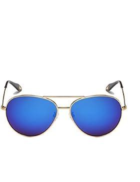 Sra Clásicas Gafas De Sol Polarizadas De Conducción HAOYUXIANG,GoldFrameNavyBlueFilm