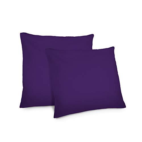Lumaland Comfort Jersey Kissenbezug 2er Set aus 100% Baumwolle 160 g/m² mit YKK Reißverschluss 50 x 50 cm Dunkelviolett -