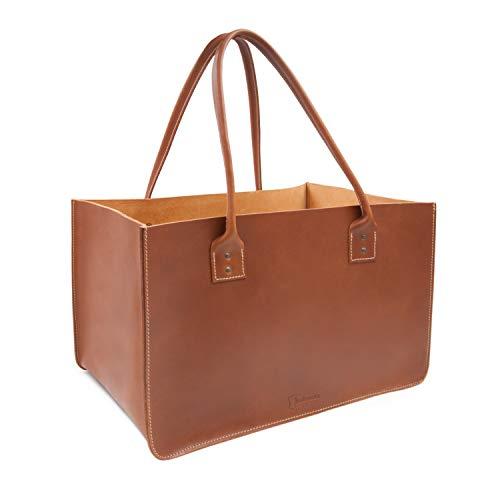 THIELEMANN DALLAS - Bolsa para leña de chimenea, fabricada en piel de...