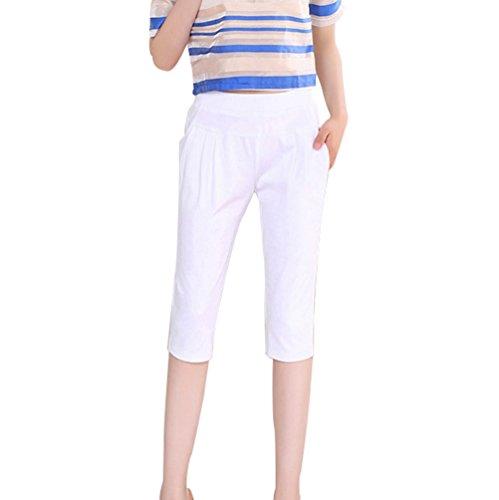 Dexinx Damen Elegante Dünne Über Knie Shorts Sommer Fest Farbe Weicher Elastischer Taillen-Hot Geerntete Hose Weiß L (Das Leben Ist Gut Lounge-hose)