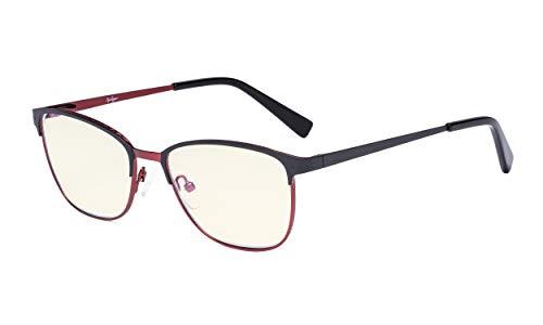 Eyekepper Blaulicht Filterbrille Damen Herren. - Relief Muster Rahmen Computer-Brillen mit Blendschutz. - UV420-Schutzfilterbrille - Schwarz und Rot Metallisch Blaugrau