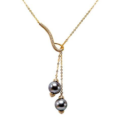 ilber 10mm Schwarz Tahiti Zuchtperlen Pearl Anhänger Halskette ()