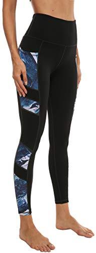 Persit Sporthose Damen, Yoga Leggings Laufhose Yogahose Sport Leggins Tights für Damen Schwarz Blau Muster-L