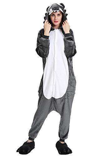 UMIPUBO Pyjamas Cosplay Jumpsuit Animals Unisex Pyjamas Onesie Nachtwäsche Bequemer Flanell Animal Sleepwear Erwachsene (M (H:158-167cm), Wolf)