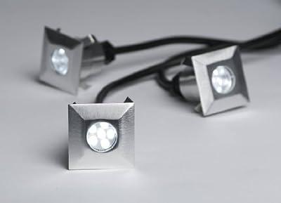 C-Light LED Boden Strahler Einbaustrahler 3er Set 12 V square - weiss / 40 x 40 mm / IP64 von C-Light GmbH auf Lampenhans.de