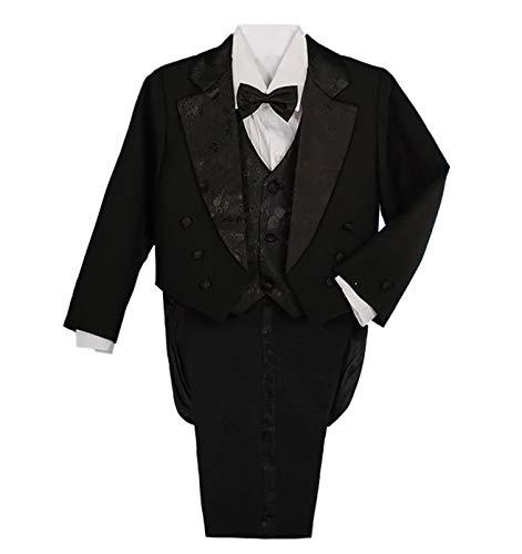 Schwarzen Schwanz Smoking (Lito Angels Baby Jungen 5 Stück set Formale Tuxedo Anzug mit schwanz Formale outfit Gr. 12-18 Monate Schwarz)