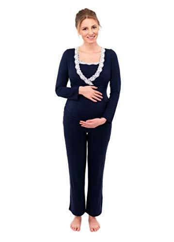 ma-Umstandspyjama | Schlafanzug für Damen mit Spitze | Nachtwäsche für Schwangerschaft-Stillzeit | Pyjama-Set mit Stillfunktion | Lang-Langarm | Blau-Grau-Taupe | 2000 (L, Blau) ()