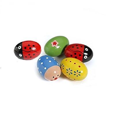 Musuntas 4PCS Baby Egg Maracas Musik Shaker aus Holz Rattle