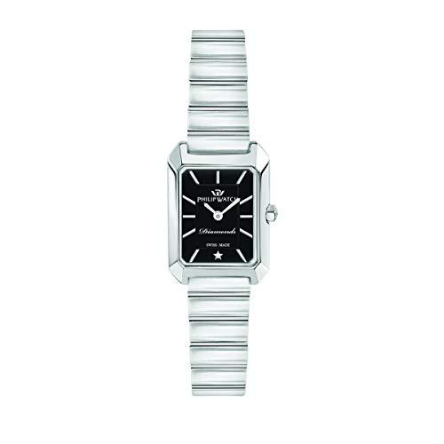 Philip Watch Orologio da donna, Collezione Eve, con movimento al quarzo e funzione solo tempo, in acciaio e diamanti naturali - R8253499506