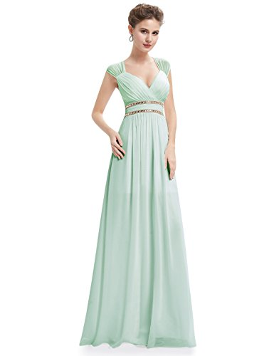 Ever Pretty Damen Elegant V-Ausschnitt Ärmellos Lang Abendkleid 40 Größe Mintgrün EP08697MG08