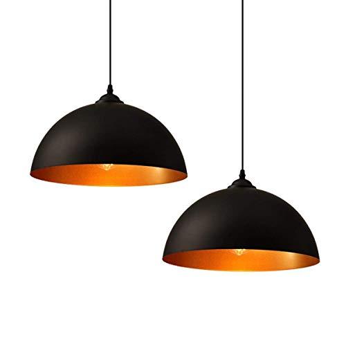 ZOOVQI 2x LED Pendelleuchte Hängeleuchte Vintage Industrielle Pendellampe Φ35cm Retro Hängelampe E27 Leuchtmittel Lampe für Wohnzimmer Esszimmer Restaurant Keller Untergeschoss usw