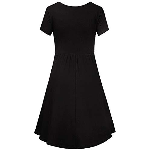 chwanger Mutterschaft Pflege Solides Stillen Sommer Kleid (X-Large, Schwarz) ()