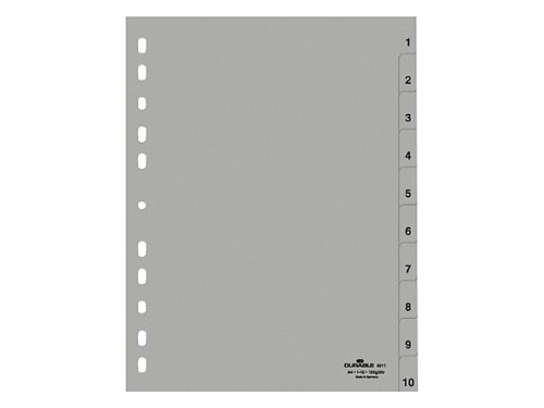 Durable 651110 Zahlenregister (A4, geprägte Taben 1-10, PP volldeckend) 25 Stück, grau