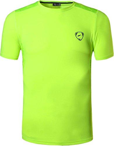 Jeansian uomo asciugatura rapida sportivo casuale slim sports fashion tee t-shirts camicie lsl192 greenyellow m