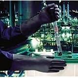 Ansell Black Heavyweight G17K Gants en latex de caoutchouc naturel, protection contre les produits chimiques et les liquides, Noir