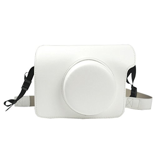 Alohallo Cuoio dell'unità di elaborazione di Instax Wide 300 con la cinghia di spalla per Fujifilm Instax Wide 300 macchina fotografica istantanea di pellicola - Bianca A