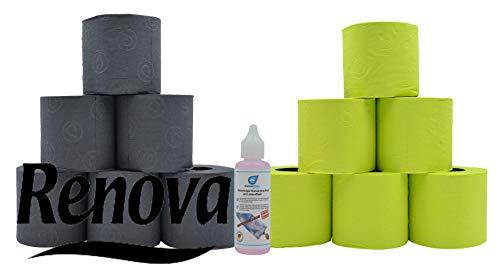 Renova Farbiges schwarzes und grünes Luxus Klopapier Toilettenpapier mit Test Glas Reiniger von Kaiserrein