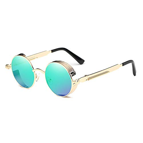 WULE-Sunglasses Unisex Europa und die Vereinigten Staaten runde reflektierende Gläser Retro Fashion Unisex UV400 Schutz Gold Frame Classic Steampunk Sonnenbrille (Farbe : Green)