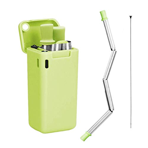 LOBKIN Pajita Plegable de Acero Inoxidable Reutilizable, compuesta de