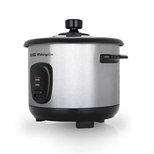 Orbegozo CO 3025 - Arrocera y vaporera 1 litro de capacidad, cuerpo de acero inoxidable, olla de aluminio antiadherente, tapa de cristal templado, 400 W de potencia