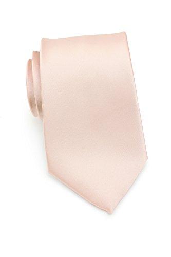 Puccini Krawatte Herren, Einfarbig, 39 verschiedene Farben, Satin-Glanz, Mikrofaser, 8,5 cm, Handarbeit, Hochzeit (Hellrosa)
