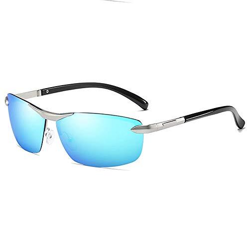 WULE-Sunglasses Unisex Trend Silver/Blue Herren Sonnenbrillen Metall Material Half Frame Farbwechsel Anti-Glare UV400 Sonnenbrille (Farbe : Blue)