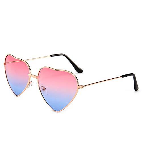 HUWAIYUNDONG Sonnenbrillen,Süßigkeit-Farben-Liebes-Herz-Geformte Sonnenbrille-Frauen-Metallrahmen-Retro Sonnenbrille-Rosa-Blau