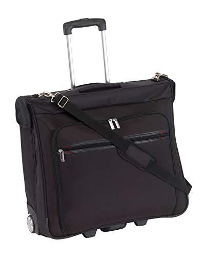 Hochwertiger XL Rollen Kleidersack Reisetasche BONN mit Schultergurt :: Anzugtasche, Anzughülle, Reisetrolley :: mit vielen Fächern, Kleiderbügel, Accessoires Taschen und Netzfächern - Schwarz (Viele Kleiderbügel)